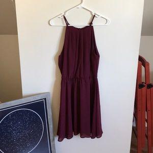 Maroon Halter-style Dress